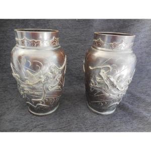 Paire De Vases Bronze Patiné Indochine Fin XIXe