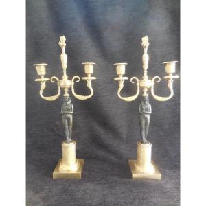 Paire De Candélabres  En Bronze Patiné Et Doré Retour d'Egypte époque Empire Début XIXe