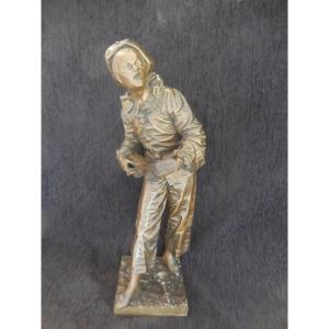 """Sculpture Bronze """"Au clair de la lune"""" signée Eutrope Bouret(1833-1906) fonte ancienne c.1900"""