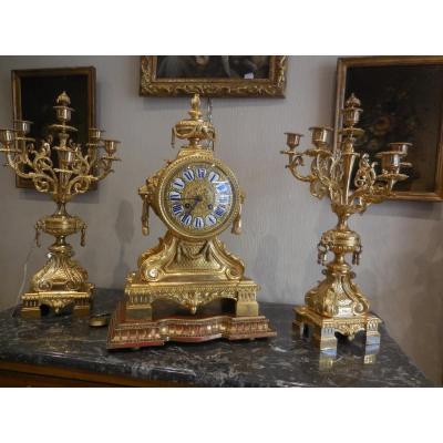 Garniture De Cheminée Au Lion Bronze Doré  ép Napoléon III