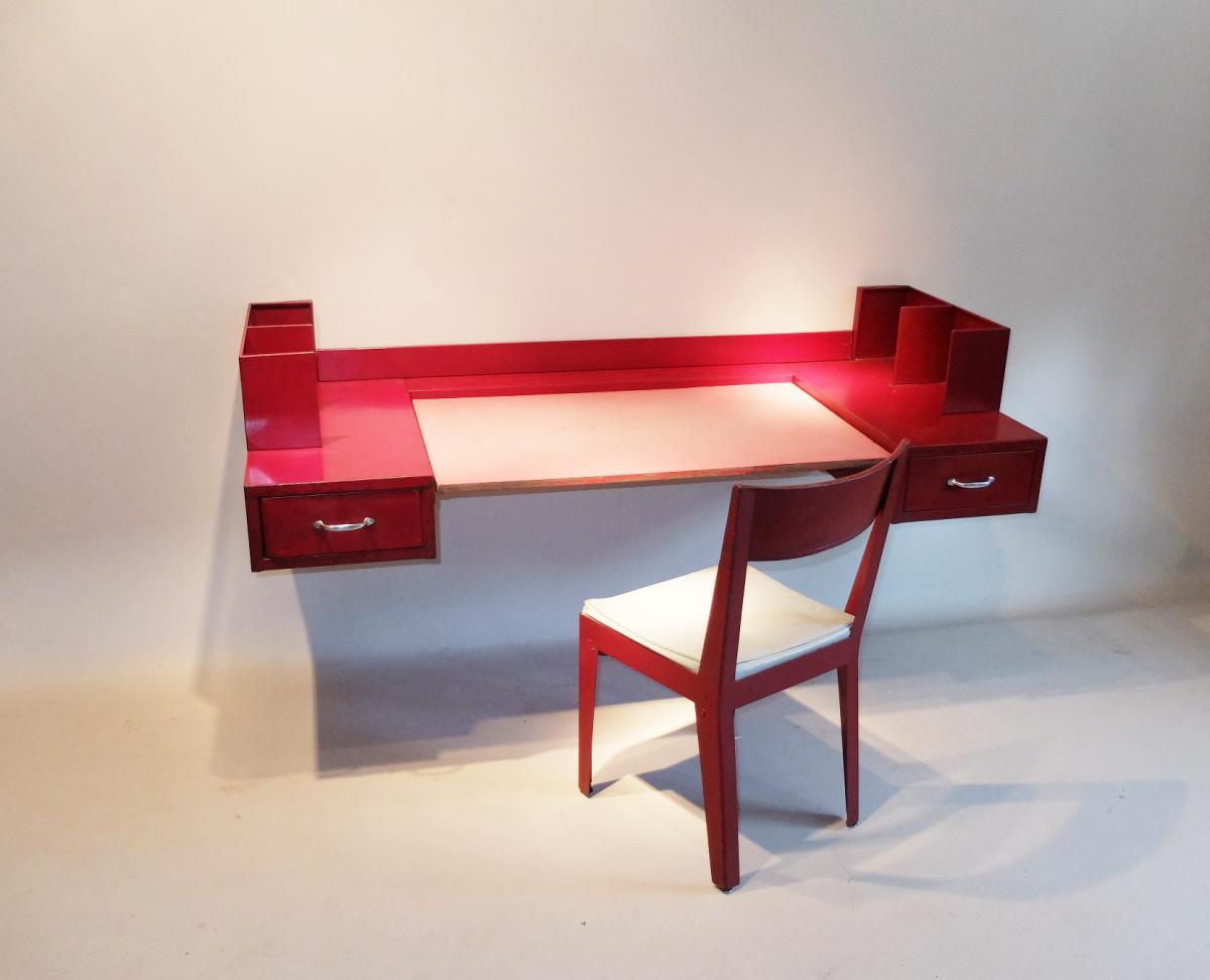 jean prouv et jules leleu bureau et sa chaise bureaux. Black Bedroom Furniture Sets. Home Design Ideas