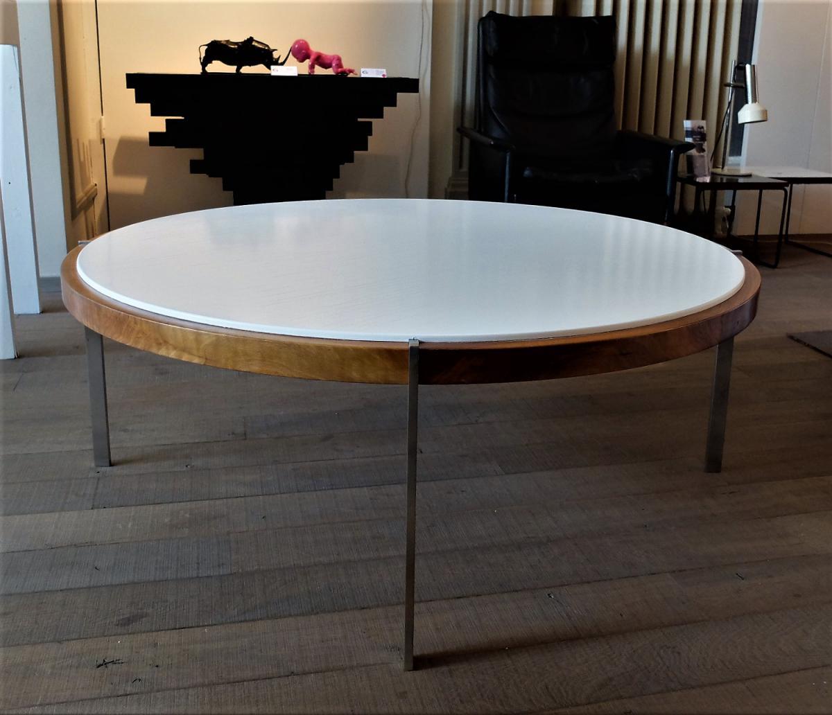 Table Basse Circulaire 1960, Acier Et Bois, style Kjaerholm