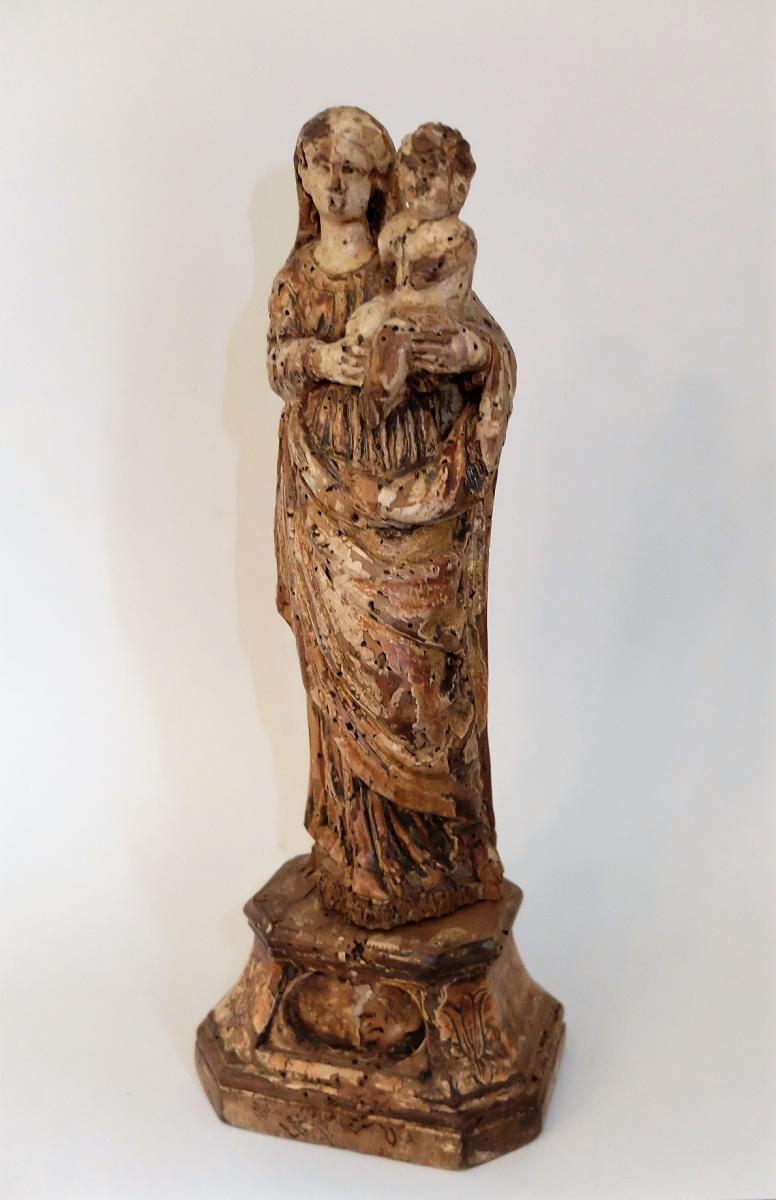 Vierge à l'Enfant En Bois Du 18ème Siècle