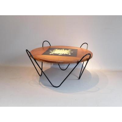 Table Basse 1950 Dessus Céramique De Vallauris, Style Royère...