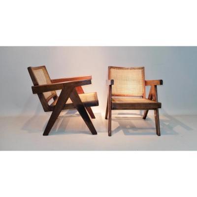 """Paire De Chauffeuses """"easy Armchair"""", Pierre Jeanneret 1955"""