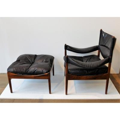 Christian Vedel Footstool And Footrest, Rosewood 1960
