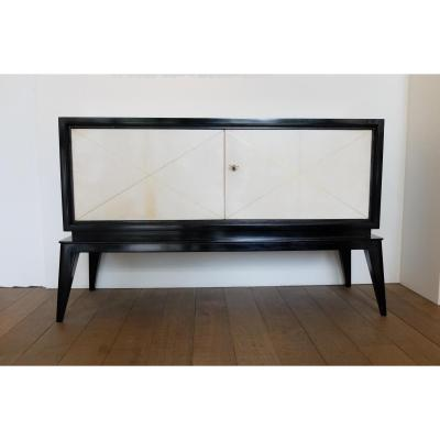 Small Art Deco Buffet 1940/50, Black Lacquer And Parchment - Buffets
