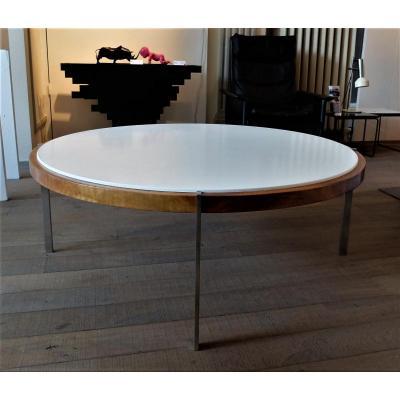 Wooden Round Table 1960, Kjaerholm Style