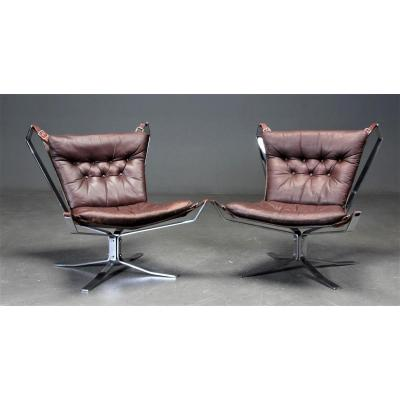 Pair Of Falcon Armchairs, Circa 1970 In Steel And Leather, Ressel Sigurd