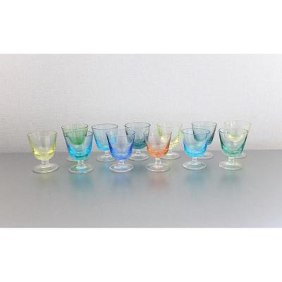 Series Of 12 Glasses Digestive 1950, Vallerysthal