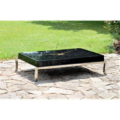 1970 Coffee Table Top Lacquered Black And Gold Powder Inlay, Guérin Paris