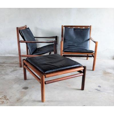 Pair Of Armchairs And Ottoman Jorgen Nilsson 1960 Rosewood