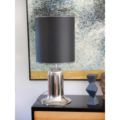 Art Deco Metal Nickel Plated Table Lamp, 1930s