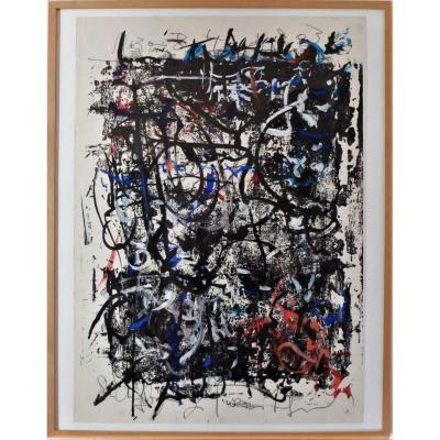 Abstract Gouache Signed Hans Kaiser And Dated 1963