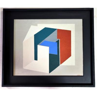 Huile Sur Toile Signée Maggy Kaiser Et Datée 75, Abstraction Géométrique
