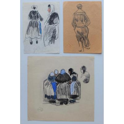 Mathurin Méheut 1882/1958, Lot De 3 Dessins Vers 1920