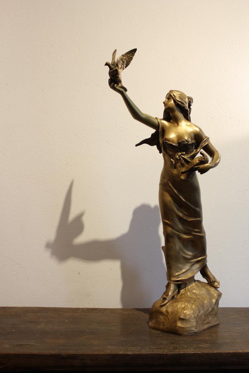 """Sculpture En Bronze  """" Courrier d'Amour """""""