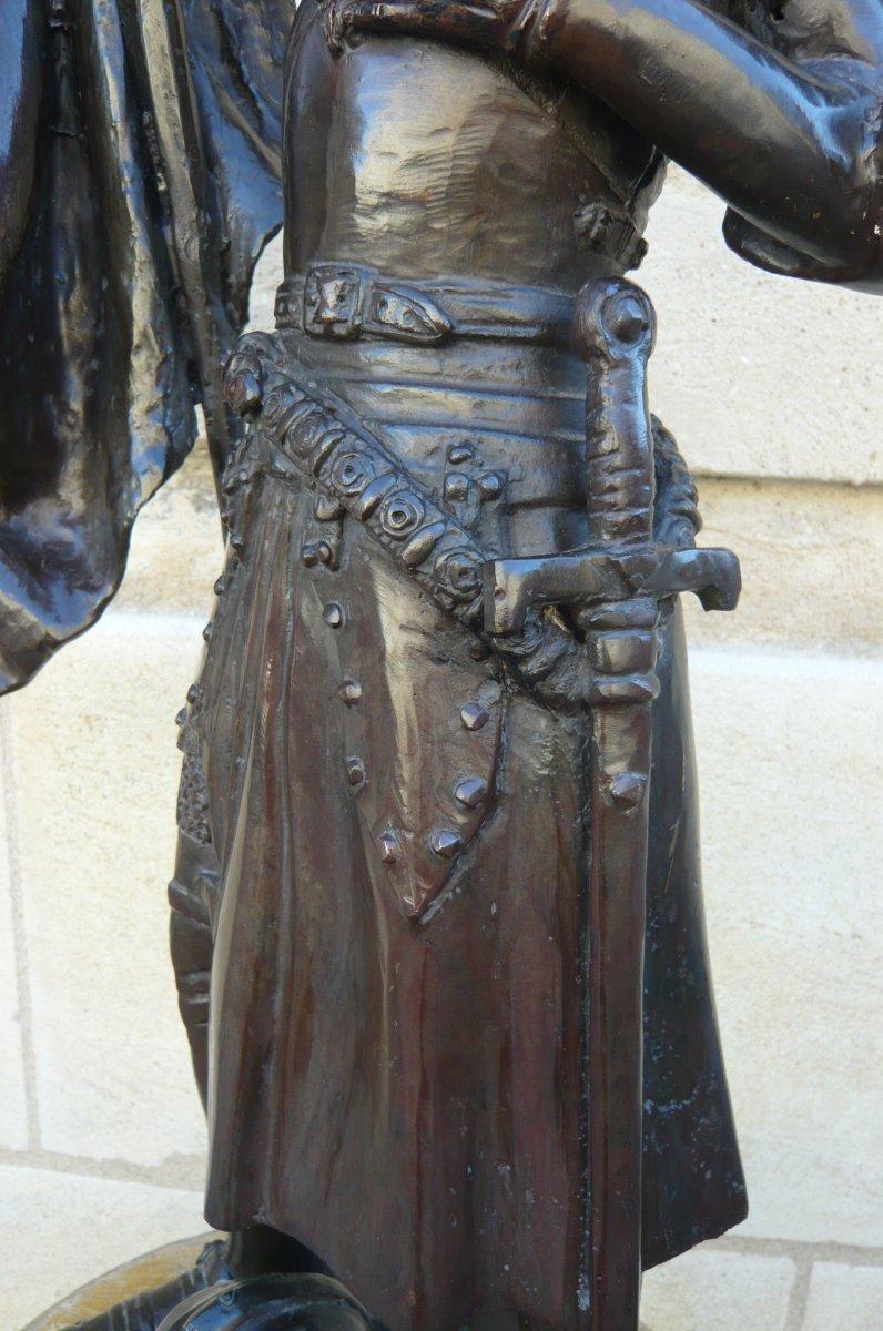 Sculpture En Bronze Jeanne d'Arc-photo-3