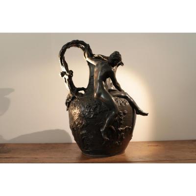 "Vase De Alexandre Vibert ""la Pêche Au Filet"""