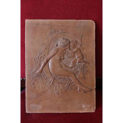 Plaque décorative en terre cuite