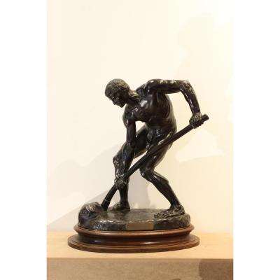 """Sculpture en bonze   """" A la terre"""" d'Alfred Boucher"""
