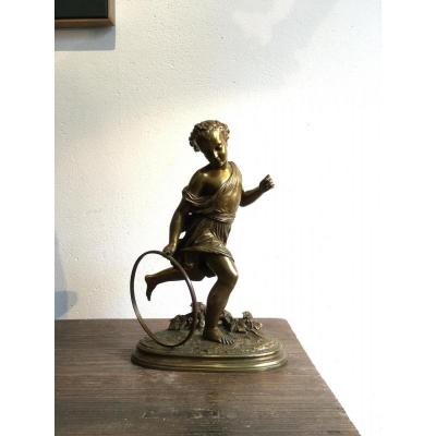 """Bronze Subject """"child With The Hoop"""" Signed Duchoiselle"""