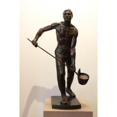 "Grande sculpture en bronze  ""Le fondeur "" de Janensch"