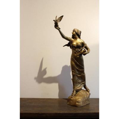 "Sculpture En Bronze  "" Courrier d'Amour """