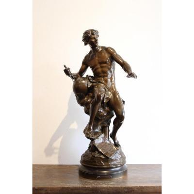 """Sculpture En Bronze """" Le Progrès """" De Picault"""