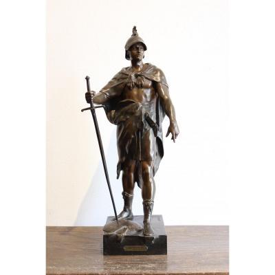 """Sculpture en bronze """" Le Devoir"""" d'Emile Louis Picault"""
