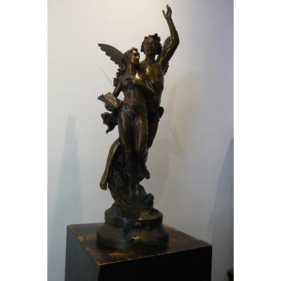 "Sculpture En Bronze De Jean - Baptiste Germain  ""Excelsior"""