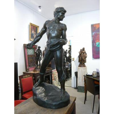 """Large Bronze """"the Sower"""" By Jef Lambeaux"""