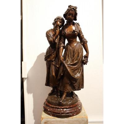 "Grande Sculpture De Moreau Hippolyte ""Accordée De Village"""