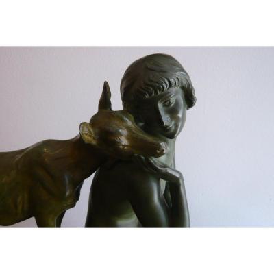 "Sculpture en bronze de Morlon ""Les deux amies"""