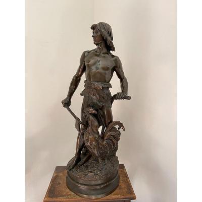 """Grande Sculpture En Bronze De Émile Laporte """"La Défense du Sol """""""