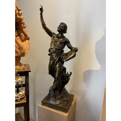 """""""the Genie des Sciences """"is one of the allegorical figures accompanied by Latin sentences produced by Emile Louis Picault, sculptor and medalist in Paris at the end of the 19th century and at the beginning of the 20th century, student of Royer, he exhibited at the Salon between 1863 and 1909. Round stamp of the founder: Société des bronzes de Paris."""