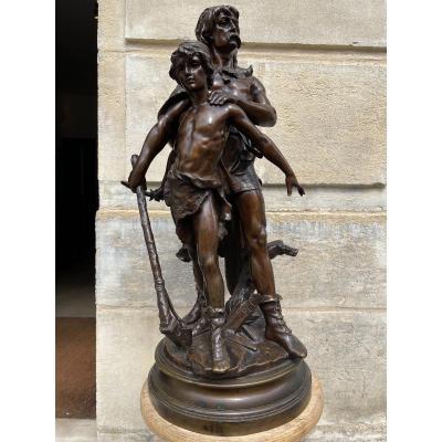 """Sculpture En Bronze """"Guerrier gaulois et son fils"""" de Henri Plé"""
