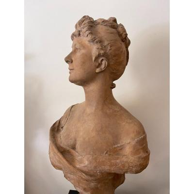 Grande Sculpture Buste Femme Terre Cuite