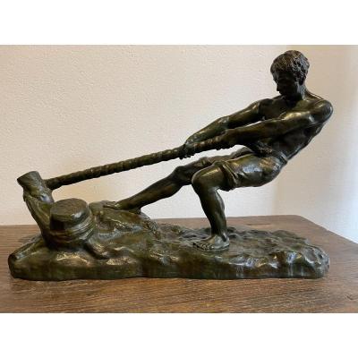 """Sculpture en bronze  """" Le halage """" de Ouline"""