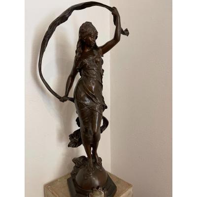 """Sculpture en bronze """" La brise """" de Auguste Moreau"""