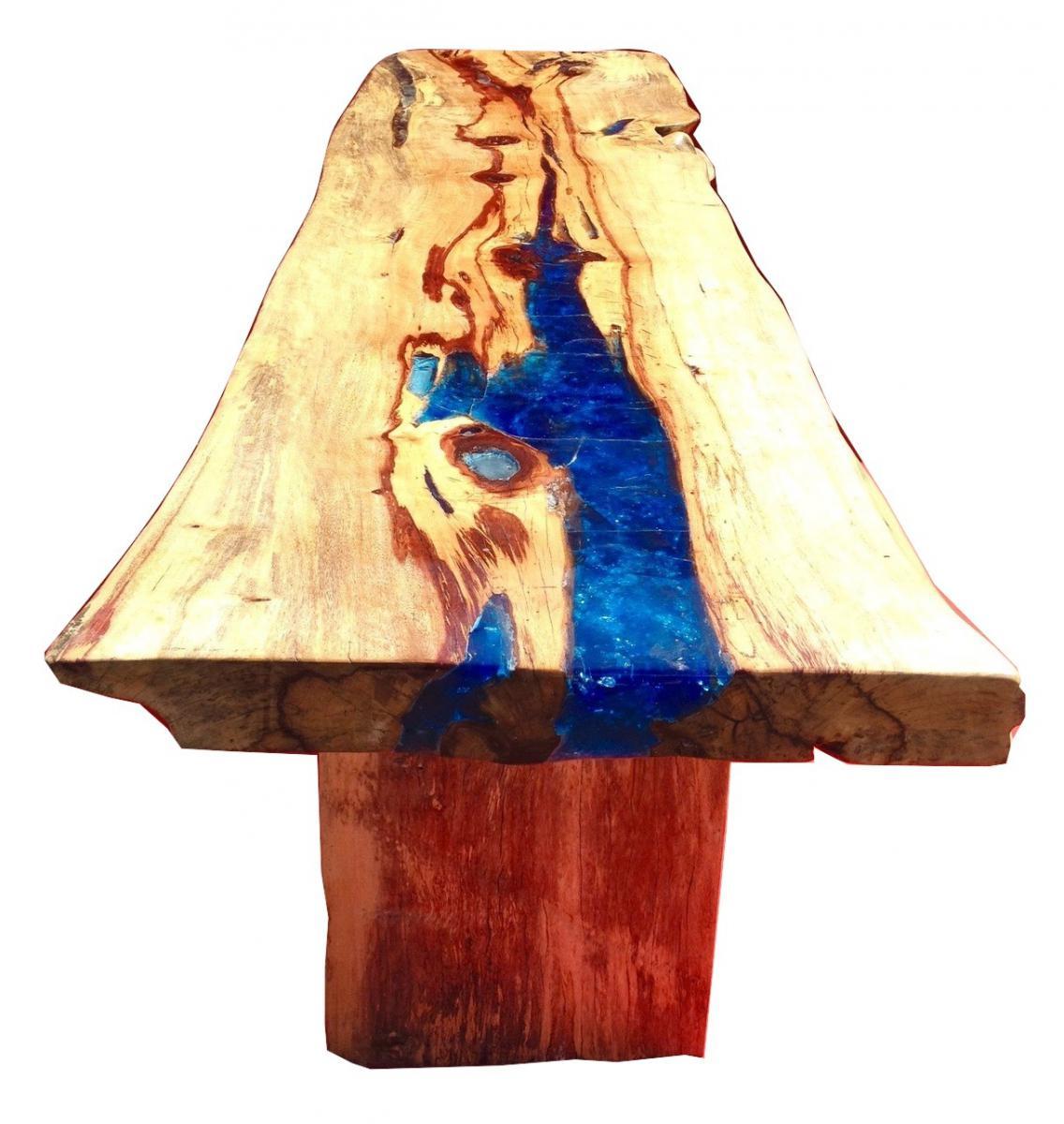 Console ou table en resine fractale et bois precieux le tamarin tables - Table en resine ...