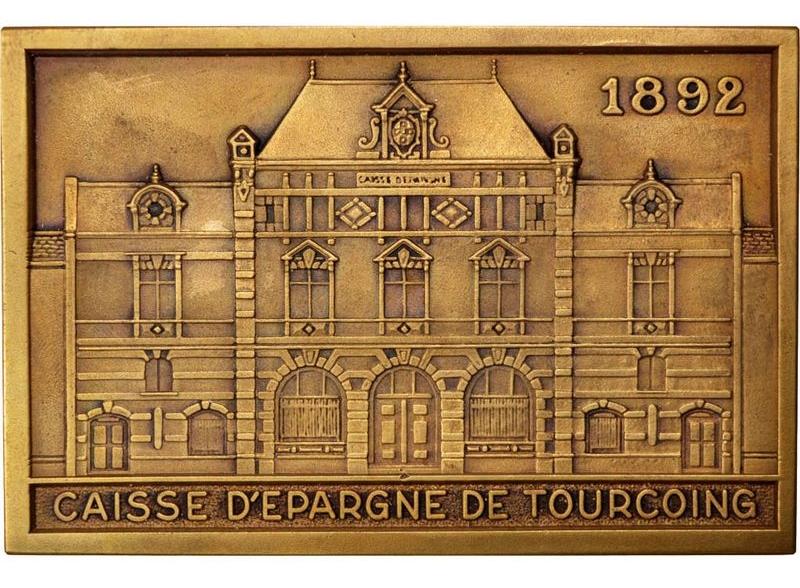 """plaque Ou Medaille En Bronze Caisse d'Epargne De Tourcoing 1966"""
