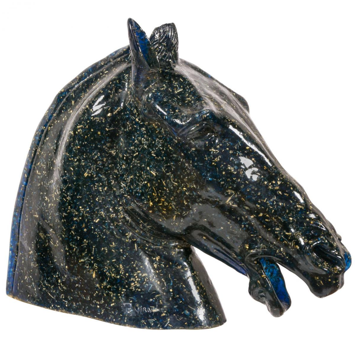 Beautiful Horse Head In Resin Grandeur Nature Fractal Blue Other Sculpture