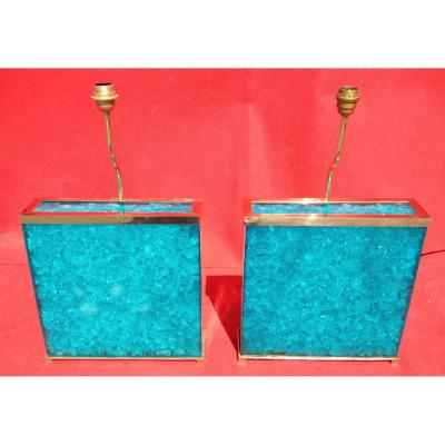 """""""icy Blue"""" Pair Of Lamp"""