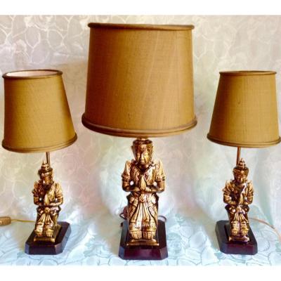 """Lampes """"bouddha"""" Ceramique Celadon"""