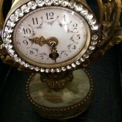 Pendulette Lyre En Bronze,onyx et strass