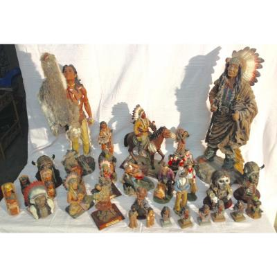 Statue Indien d'Amerique Lot Important De 53 Pieces