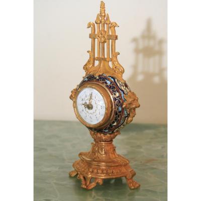 Pendulette Bronze Et Cloisonnee