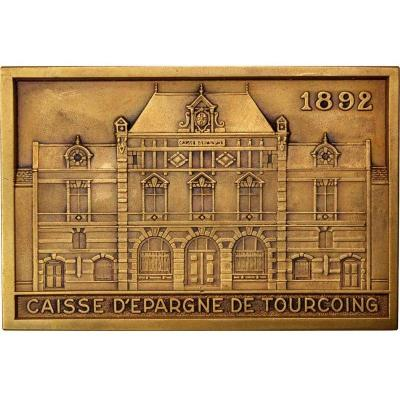 """plaque Or Medal In Bronze Tourcoing Savings Bank 1966"""