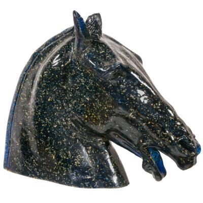 Tete De Cheval Grandeur Nature En Resine Fractale Bleue